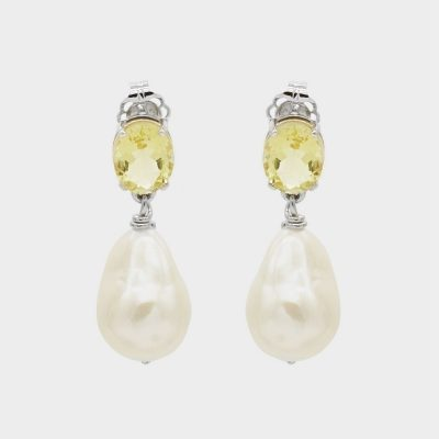 Natasha Schweitzer Lemon Quartz Pearl Earrings Silver