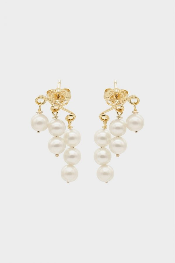 Natasha Schweitzer Penelope Pearl Earring In Yellow Gold